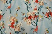 Set Of 4 Drapes Limited Swavelle Cotton Barkcloth With Japanese Blossom Print