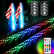8x Pods Rgb Led Rock Lights Bluetooth Music Timing + Spiral 4ft Led Whip Antenna