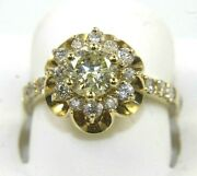 Natural Round Yellow Diamond Solitaire Flower Ladyand039s Ring 14k White Gold 1.50ct