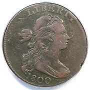 1800 S-208 R-3 Anacs Vf 20 Draped Bust Large Cent Coin 1c