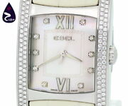 Ebel Brasilia Bezel Menand039s 5atm 10p Diamond Shell Dial Watch Leather Excellent