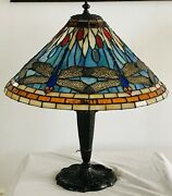 20th Century Stained Glass And Bronze Table Lamp In The Style Of