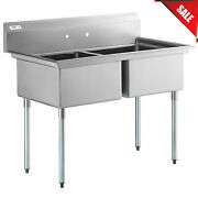53 2 Compartment Stainless Steel Commercial Restaurant Utility Wash Two Sink
