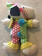 Vintage Snoopy Cotton Fabric Clown Plush Toy 1988 Hong Kong Snoopy Peanuts