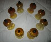 Set Of 31=vtg Amber Glass Pegged Votive Cup Home Interior Flared Honeycomb