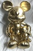 Disney Store Mickey Mouse 90th Anniversary Large And Small Gold Plush Set Nwt