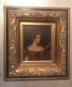 Oil Painting On Canvas Signed Grecian Roman Woman Ivy Wreath Gold Frame 20 X 18