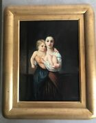 Oil Painting On Board, Signed Madonna And Child Woman Nude Gold Frame 21 X 17