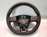 Ford Focus St Mk3 Steering Wheel Flat New Leather + Red Band 2011-2018 Custom
