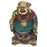 Feng Shui Laughing Happy Money Buddha Figurine Color Brass Statue Decor Gift 19