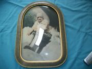 Antique Bubble Glass Frame With Photo 18.25 H X 12.5 W