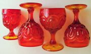 L E Smith Glass Amberina Set Of 3 Claret Wine Glasses And A Cordial Glass
