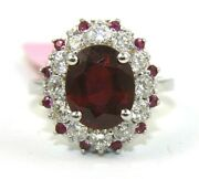 Natural Oval Red Ruby And Diamond Halo Solitaire Ring 14k White Gold 4.65ct