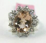 Natural Oval Morganite And Diamond Halo Solitaire Ring 14k White Gold 5.78ct