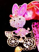 Betsey Johnson Cute Crystal And Enamel Hello Kitty Riding A Bike Pendant Necklace