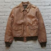 Vintage Willis And Geiger Type A-2 Leather Flight Jacket Size 40 Us Army Usaf Usn
