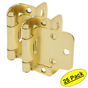 25 Pack Cosmas 18650-bb Brushed Brass Partial Wrap Hinge 1/2 Overlay Pair