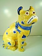 Vintage Faience Galle Style Yellow Ceramic Pug Dog Made In Italy For