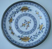 Vintage Asian Style French Porcelain Plate Samson Marks With Sterling Rim 9and039and039