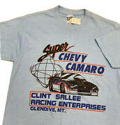 Vintage 80s Super Chevy Camaro T Shirt Adult S Blue Cars Clint Sallee Usa Rare