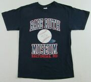 Babe Ruth Museum Baltimore Maryland Autographed Baseball Blue T Shirt Size M