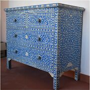 Handmade Bone Inlay Blue Floral Design Sideboard Chest Drawer Cabinet