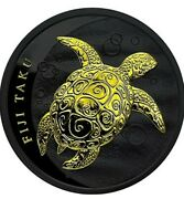 2011 1 Oz Silver Fiji Taku Ruthenium Coin With 24k Gold Gilded.