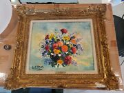 Floral Original Oil Painting By A. G. Revesz Listed Impressionist Artist