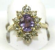 Natural Oval Purple Sapphire And Diamond Halo Ladyand039s Ring 14k Yellow Gold 3.38ct