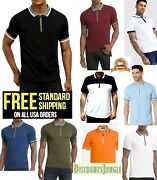 Kenneth Cole New York Mens Short Sleeve Knit Zip Polo Shirt With Tipped Collar