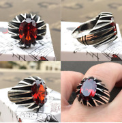 Menand039s Ring 925 Sterling Silver Turkish Handmade Jewelry Ruby All Size