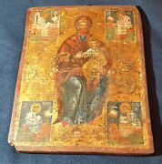 Antique Greek Icon Mary Jesus Saint Mark St. Peter Angels 19th Century Rare