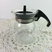 Vintage Pyrex Clear Glass 2 Cup Coffee Pot Black Handle And Lid 802 Usa