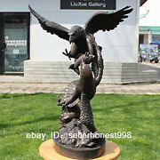 Western Bronze Marble Two Eagle Grab The Fish Statue Art Deco Sculpture