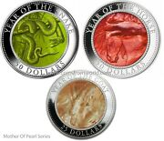 Cook 2013 - 2015 Mother Of Pearl Lunar Snake Horse Goat 3 X 5oz Silver Coin Set