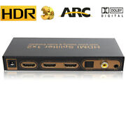 4k Hdmi Splitter 1x2 With Audio Extractor 2 Way Arc Hdmi To Toslink Coaxial Aux