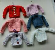 6 Hand Knitted Christmas Sweater Ornaments With Hangers..