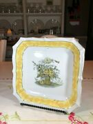 Esco China Square Plate Hand Painted W/ Yellow Trim And Yellow And Black Flowers