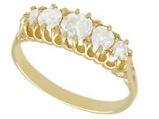 Antique 0.95ct G Color Diamond And 18k Yellow Gold Five Stone Ring - Size 8