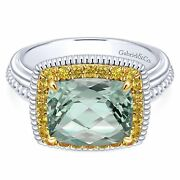 Sterling Silver 18k Yellow Gold Cushion Green Amethyst And Sapphire Halo Ring Nwb
