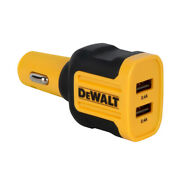 Dewalt Black/yellow 24 Watt 2-port Mobile Usb Charger For Any Usb-powered Device