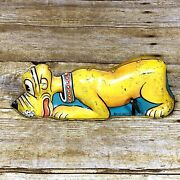 Walt Disney Marx Pluto 1939 Tin Wind Up Toy Works Goes In Circles