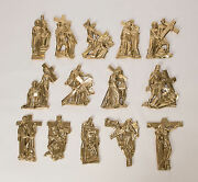 Set Of 14 Stations Of The Cross Solid Brass For Outdoor Or Indoors 254