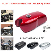 Universal 9l/2.4 Gal Vintage Motorcycle Cafe Racer Seat Fuel Gas Tank Cap Switch