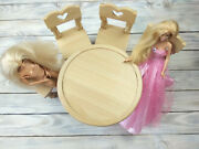 Real Wood Dollhouse Furniture Round Table + 4 Chairs 15 Wooden Dolls House