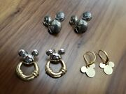 Lot Of 3 Collectible Disneyana Jewelry Vintage Mickey Goldtone Earring