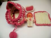 Vtg Vinyl Winged Kewpie Doll In A Hand Knit Purse That Turns Into Doll Bassinet