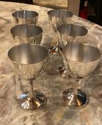 Vintage Maciel Mexico Sterling Silver Wine Goblet Glasses Heavy Set Of 6 1940andrsquos