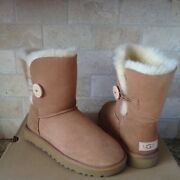 Ugg Classic Short Bailey Button Ii 2.0 Chestnut Suede Boots Size Us 7 Womens