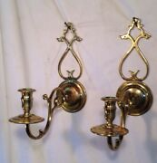 Colonial Williamsbug Old Brass Reproduction Candle Wall Sconces